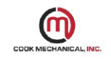 design of M in a circle with words written cook mechanical, inc. logo